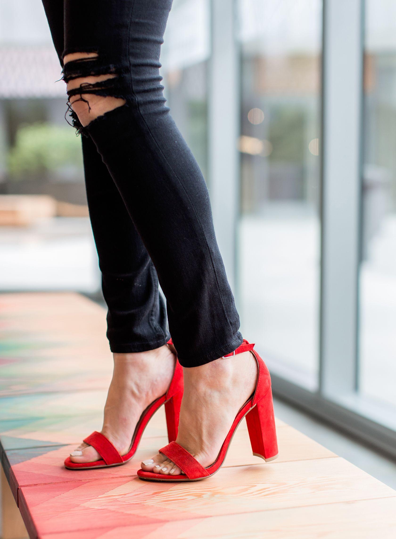 steve madden red block heels