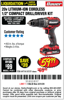 Bauer 20v Hypermax Lithium 1 2 In Drill Driver Kit For 59 99 In 2020 Drill Driver Harbor Freight Tools Compact Drill