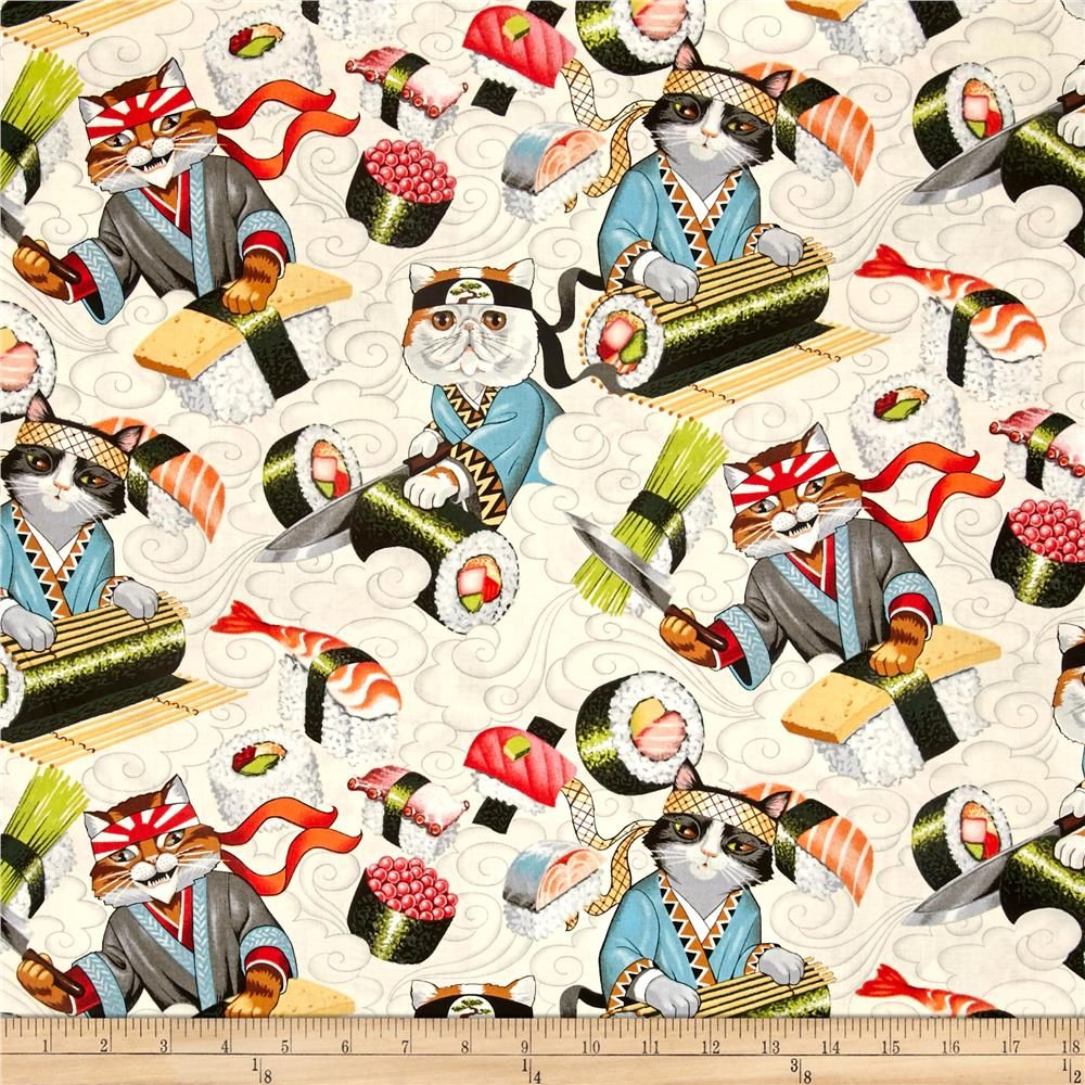 ALEXANDER HENRY cotton fabric-KITTY ROLLS-cats-sushi-DeLeon DEsign Group-BTY