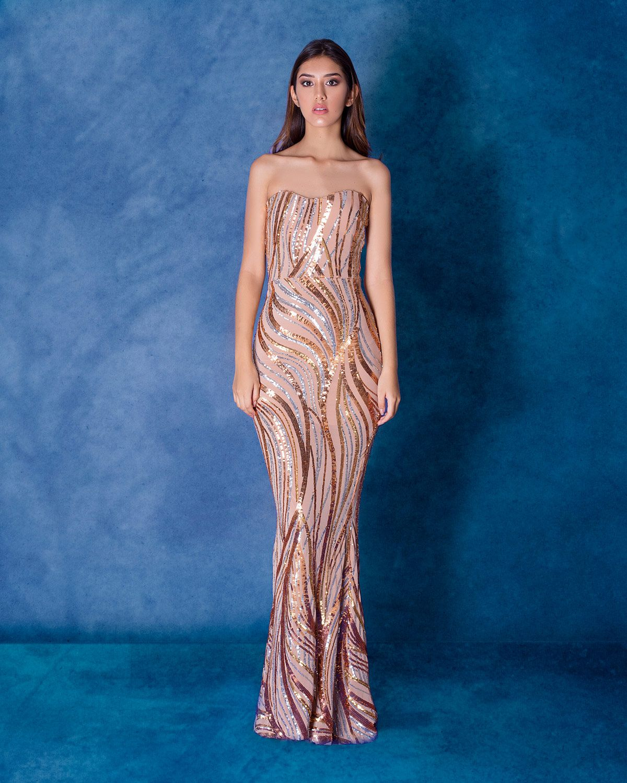 Vestido de Gala Brillante Dorado- Alquiler de Vestidos de Fiesta en ...