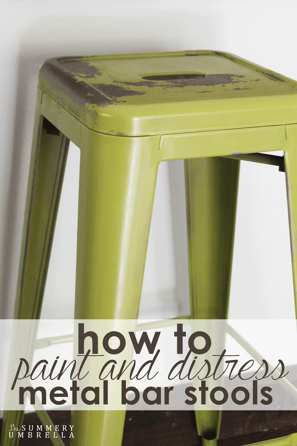 Metal Stools How To Paint And Distress Metal Bar Stools Remodelaholic