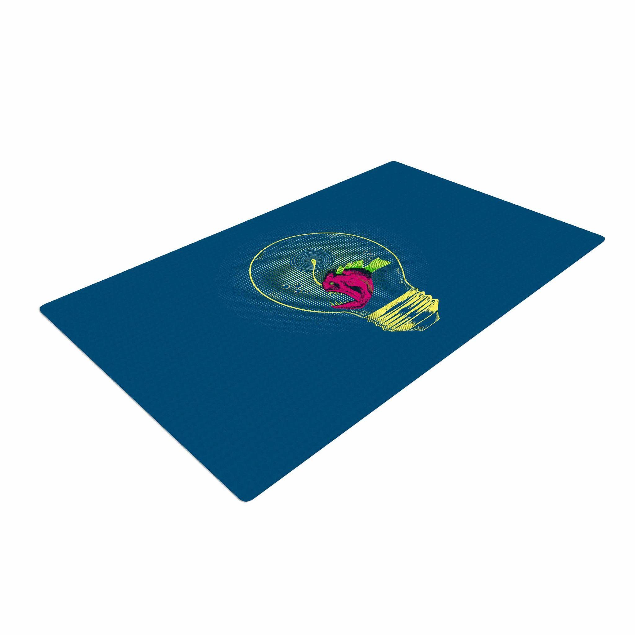 """BarmalisiRTB """"Anglerfish Bulb"""" Blue Red Woven Area Rug"""