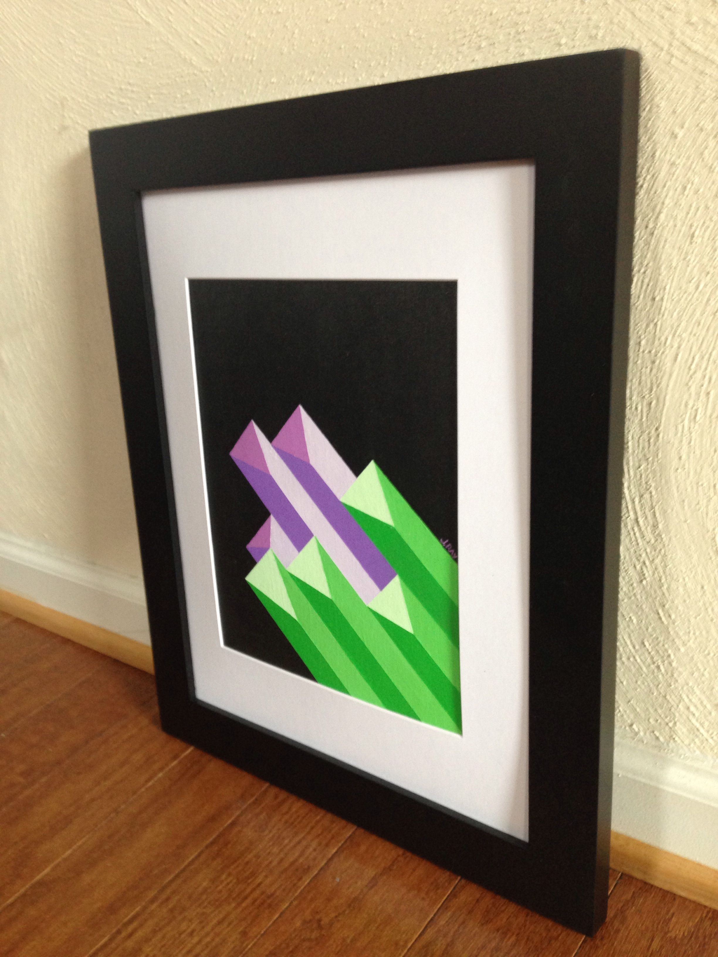 Geometric Prisms, 8x10 Framed Acrylic abstract Original Painting by Jerrod Ray