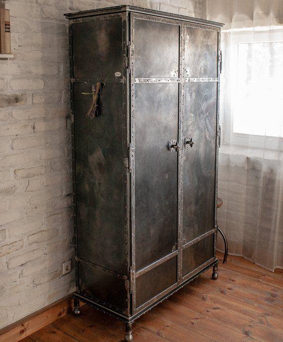 Metal Cupboard Industrial Design Wardrobe Metallschranke Kleiderschrank Metall Haus Interieu Design