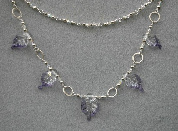 Clear and Amethyst Leaves Necklace with Hand Forged by torchwoman, $75.00