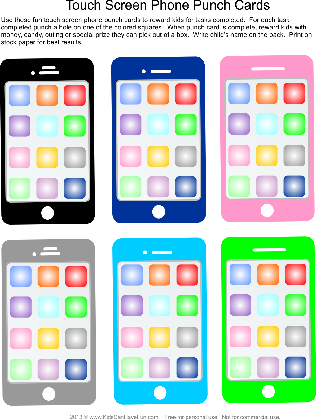 Motivational Touch Screen Phone Punch Cards for Kids to