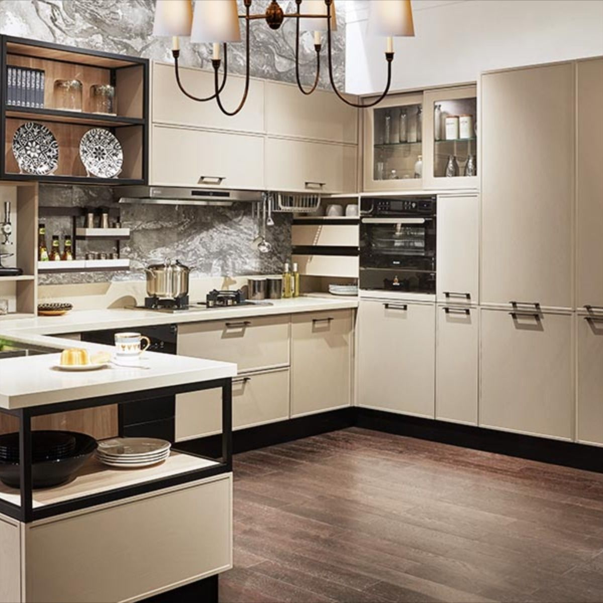 Nl Furniture U Kitchen With Industrial Style Elements Gives You Pure Comfort And Natural Experience In 2020 U Shaped Kitchen Cabinets Kitchen Cabinets Models Kitchen