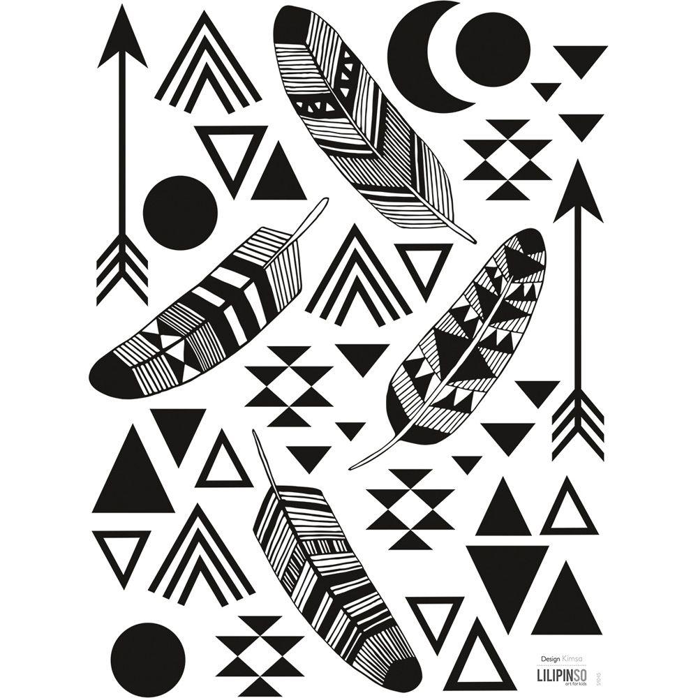 planche de stickers plumes et motifs g om trique lilipinso and co noir et blanc pinterest. Black Bedroom Furniture Sets. Home Design Ideas