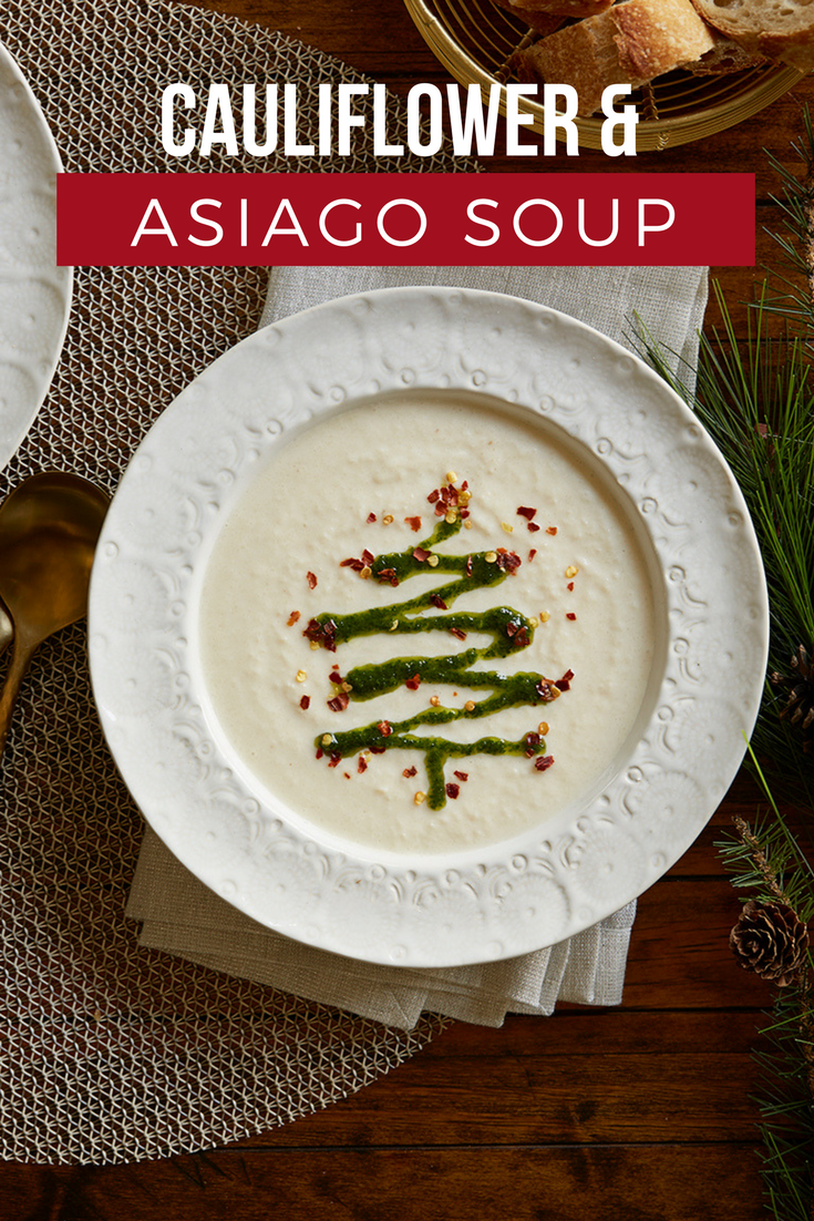 Cauliflower & Asiago Soup   Recipe   Pretty christmas trees, Cream ...