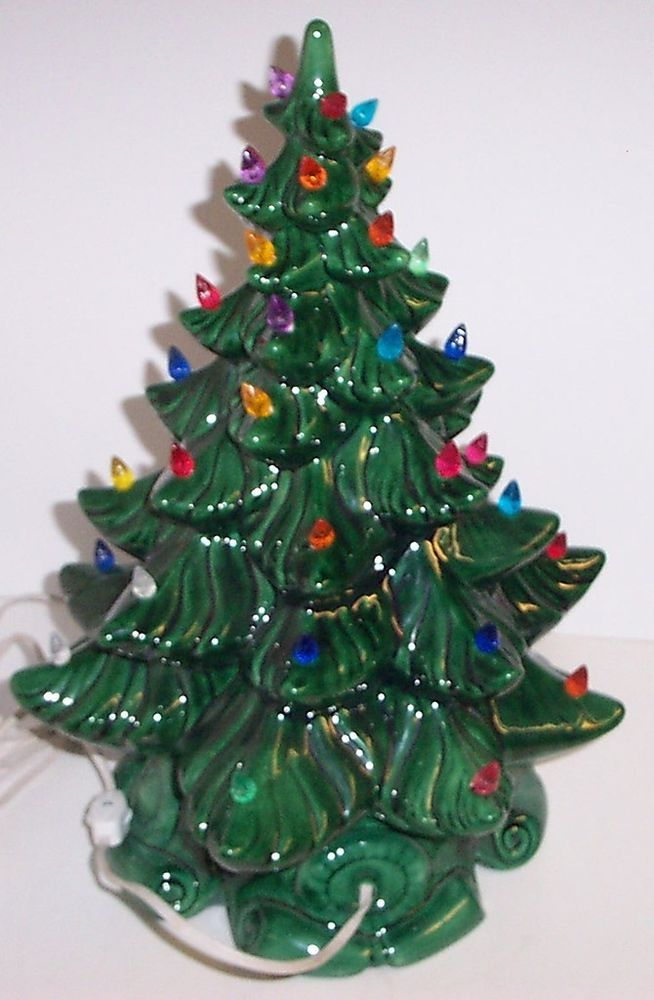 vintage lighted bulbs ceramic christmas tree atlantic mold green lights base