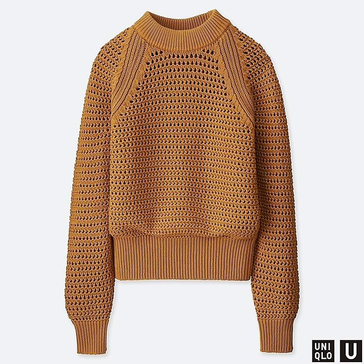 40be4e3ae4fe46 WOMEN U MESH OVERSIZED SWEATER, YELLOW, large | UU Spring 2019 in ...