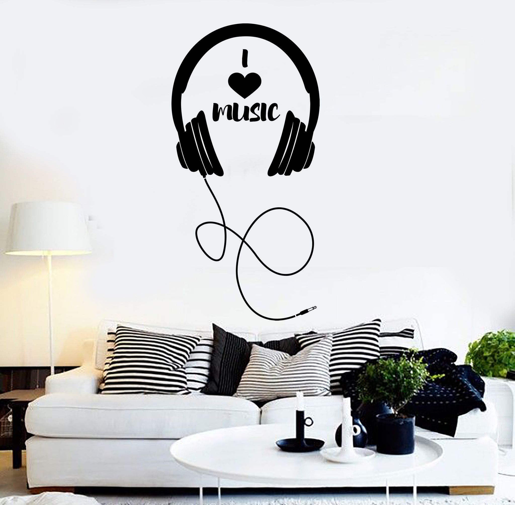 Vinyl Wall Decal Headphones Musical Decor Teen Room Stickers Mural - Wall stickers for bedrooms teens