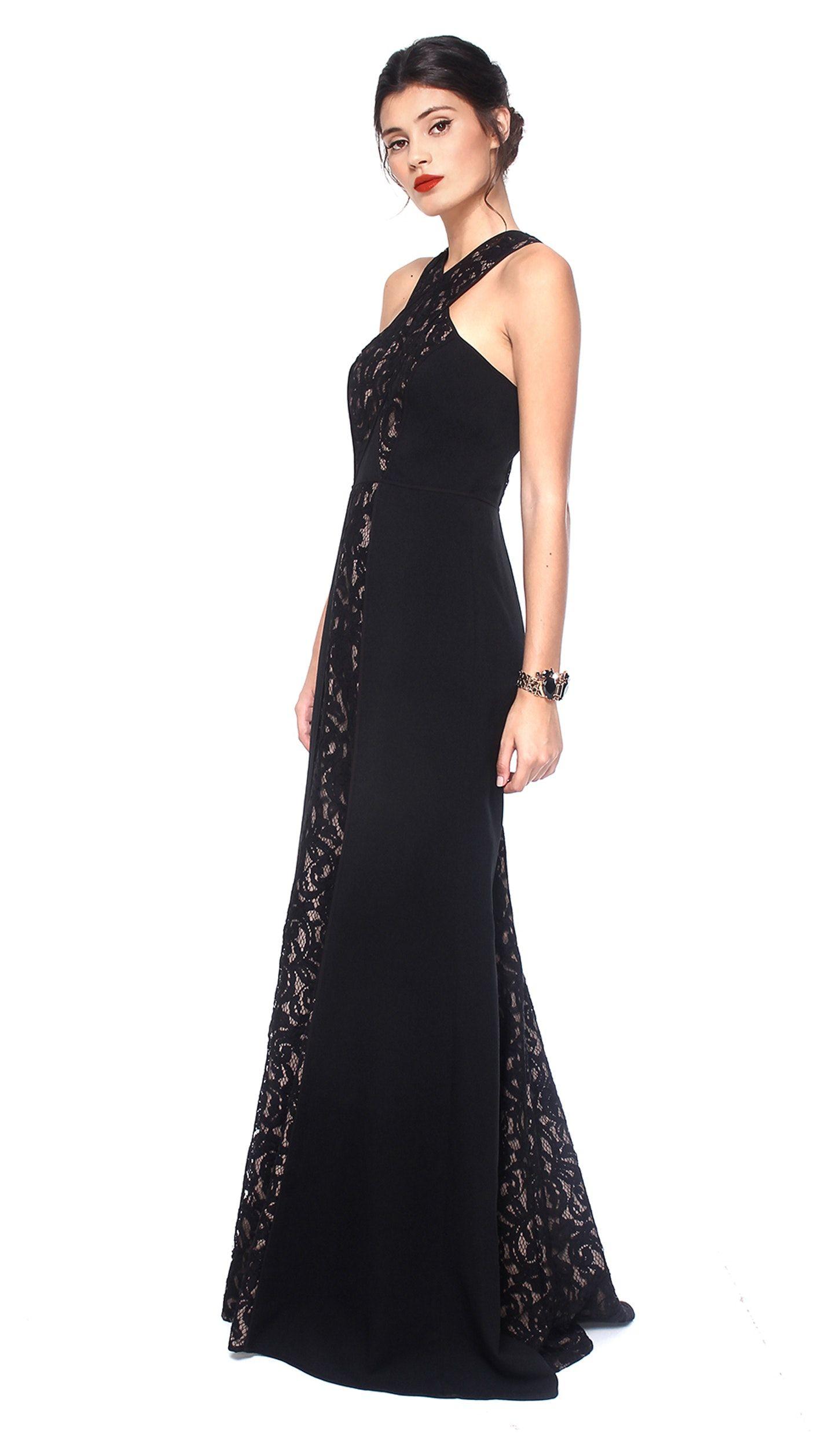 Black Lace Crossover Neck Gown Bcbg Max Azria Hire Dresses Bcbg Dresses Floor Length Lace Dress Dresses
