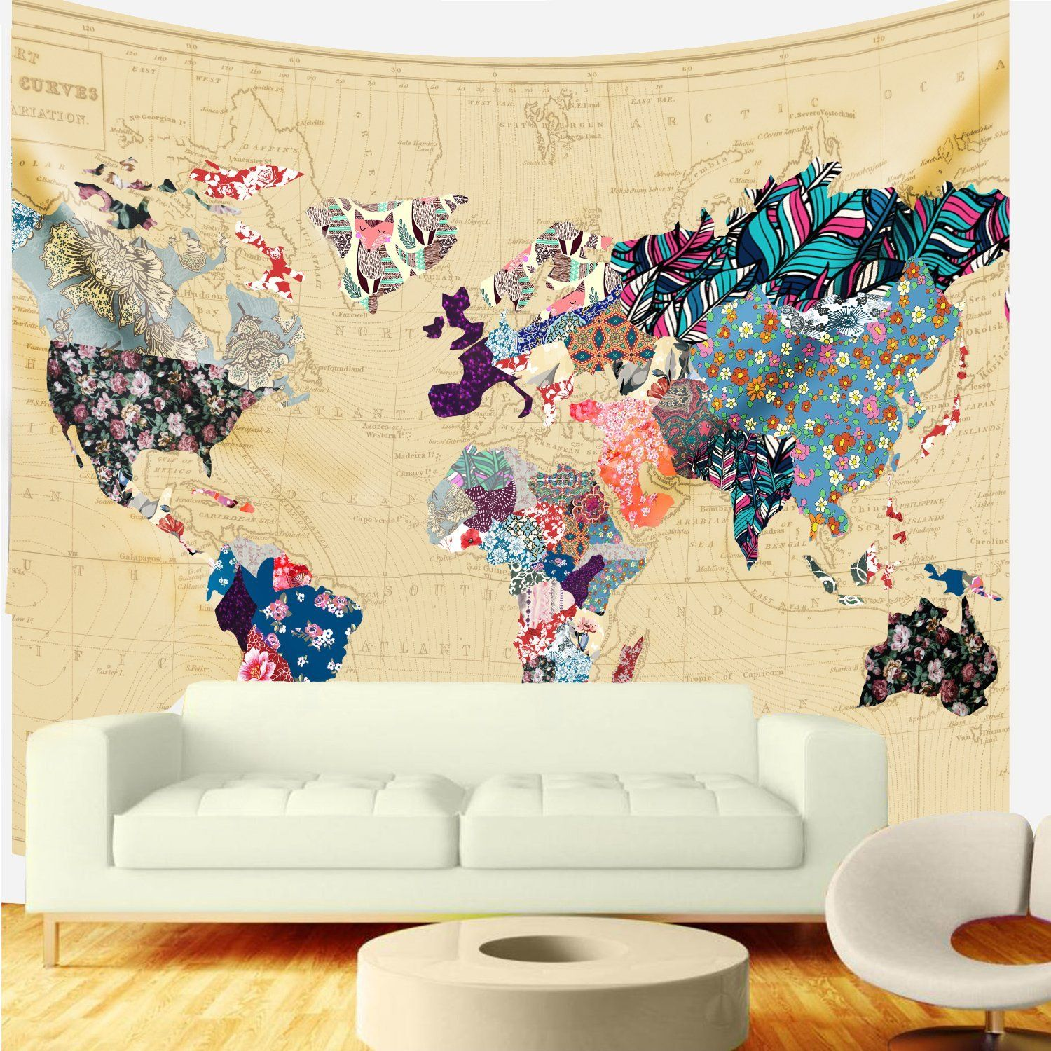 Bonnie Bone Floral Watercolor World Map Tapestry Colorful Printed ...