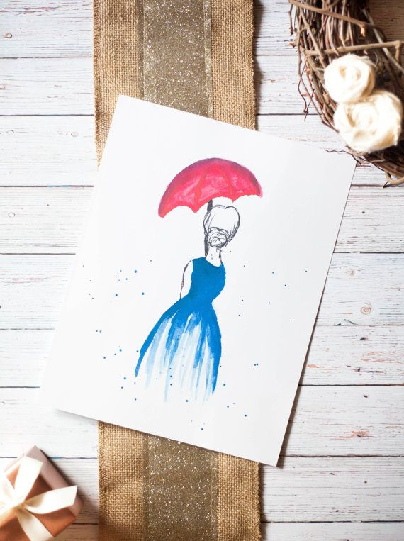 Fashion Print, Red Umbrella Print, Fashion Watercolor, Girl Blue Dress, Gift for Her, Bathroom Decor, Bedroom Decor, 8 5x10 is part of bedroom Blue Dressers - This fashionable watercolor piece is a print of a hand painted original  This is a perfectly fun way to add a splash of color to any room, office, or gallery wall! (Frame is not included ) Size 8x10 Colors Blue, Red, Black Paper 80lb Cover, Matte, 100 Brightness FRAME NOT INCLUDED We appreciate your business!