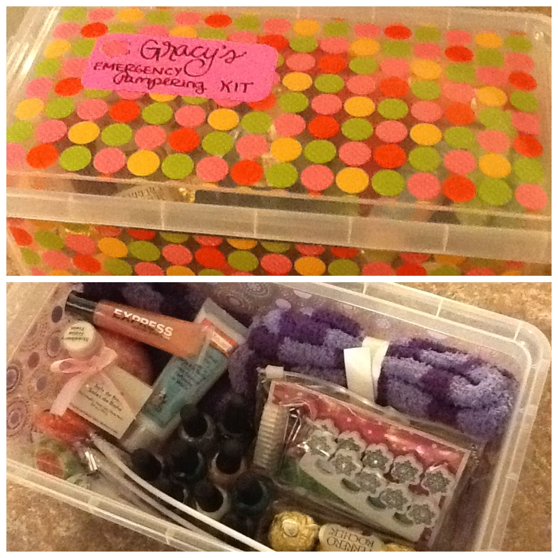 """""""Emergency Pampering Kits"""" Found the cute containers at Michael's craft store. Contents: fuzzy socks, lip gloss, lotion, bath salt, lots of nail polish, nail clippers, brush, other nail accessories, and of course sweets and chocolate! Can't wait to give these to the girls for Christmas."""