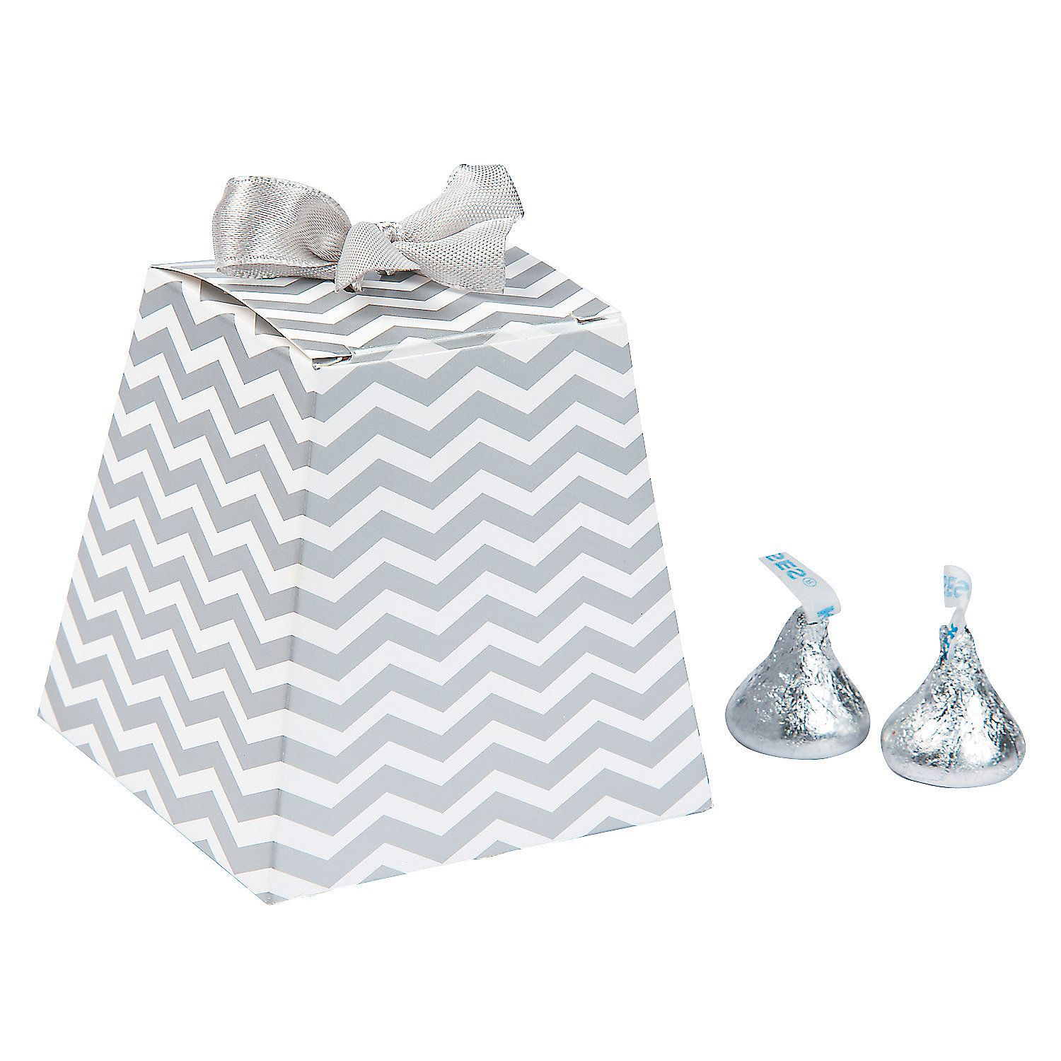 Silver Chevron Tapered Wedding Favor Boxes | Favors, Wedding and ...