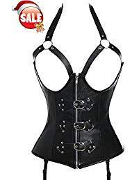 e41a395952a Beauty-You Femme Cuir Lingerie Sexy Guêpières Corset Noir avec la Suspenders  Simili Cuir Noir