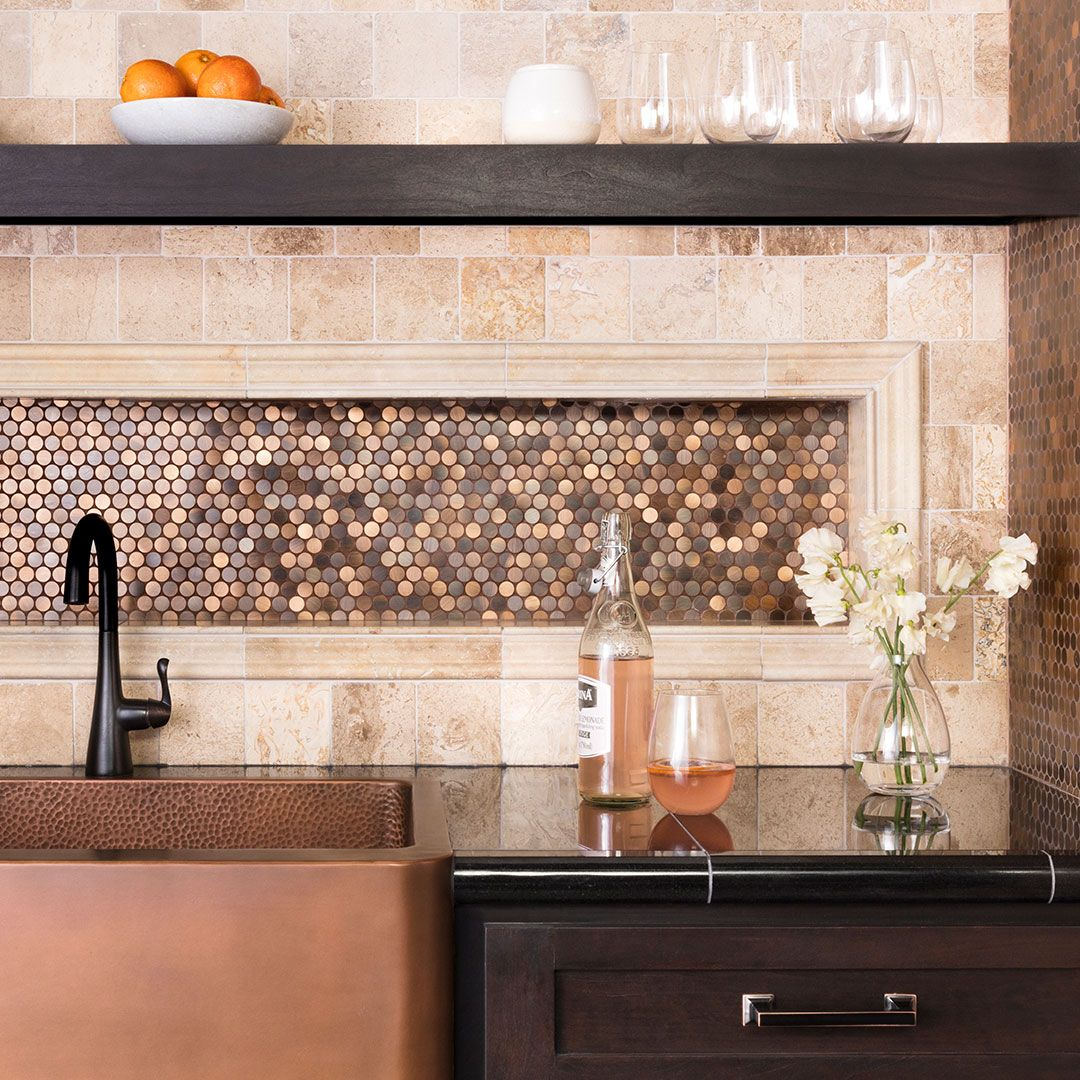 Now That S A Pretty Penny Round This Mosaic Is A Gorgeous Way To Add Metallic Shimmer And Incorpo Kitchen Remodel Kitchen Wall Tiles Mosaic Backsplash Kitchen