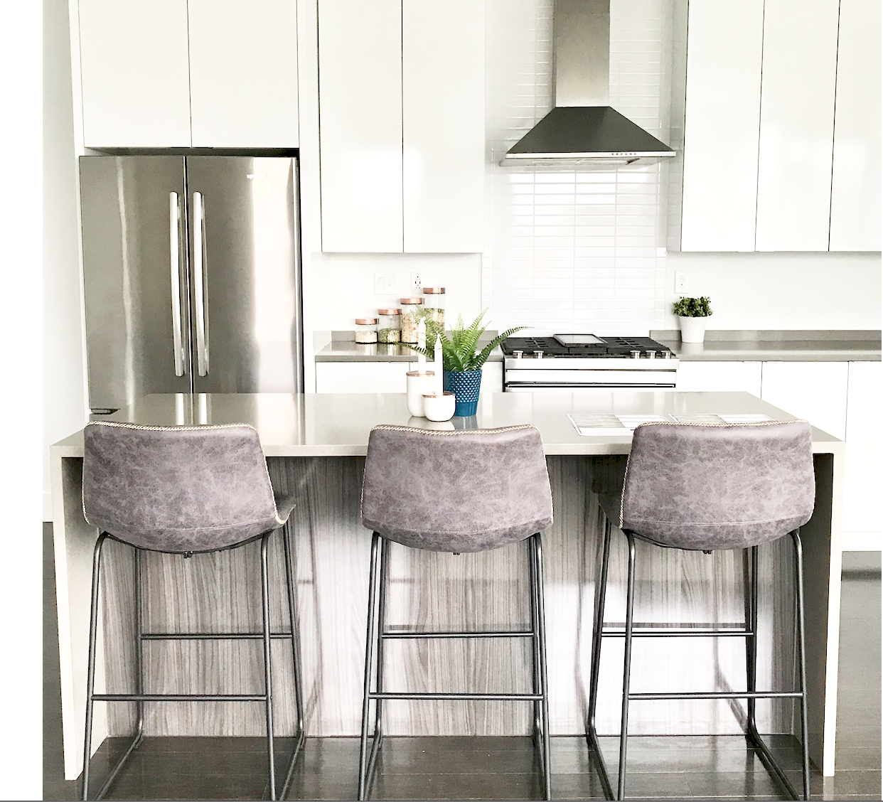 Modern kitchen design with barstools interior by natasha nicolaou natnico designs also rh pinterest