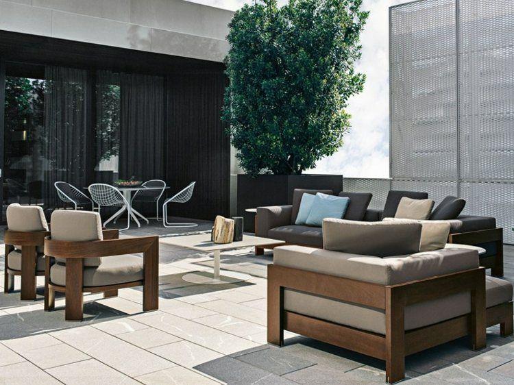 salon de jardin bois canapé de design moderne par Minotti ...