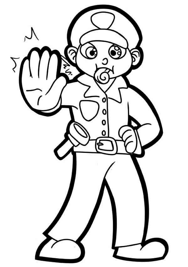 Police Officer With Whistle Coloring Page Netart Police