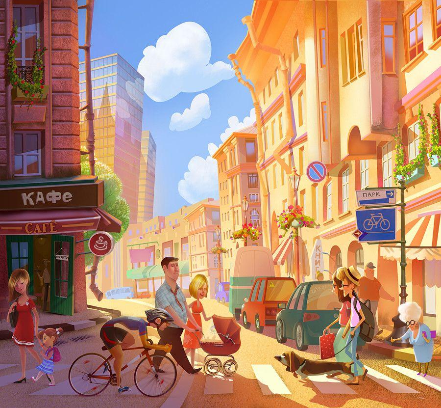 ArtStation - Bright city, Natasha Grigorieva