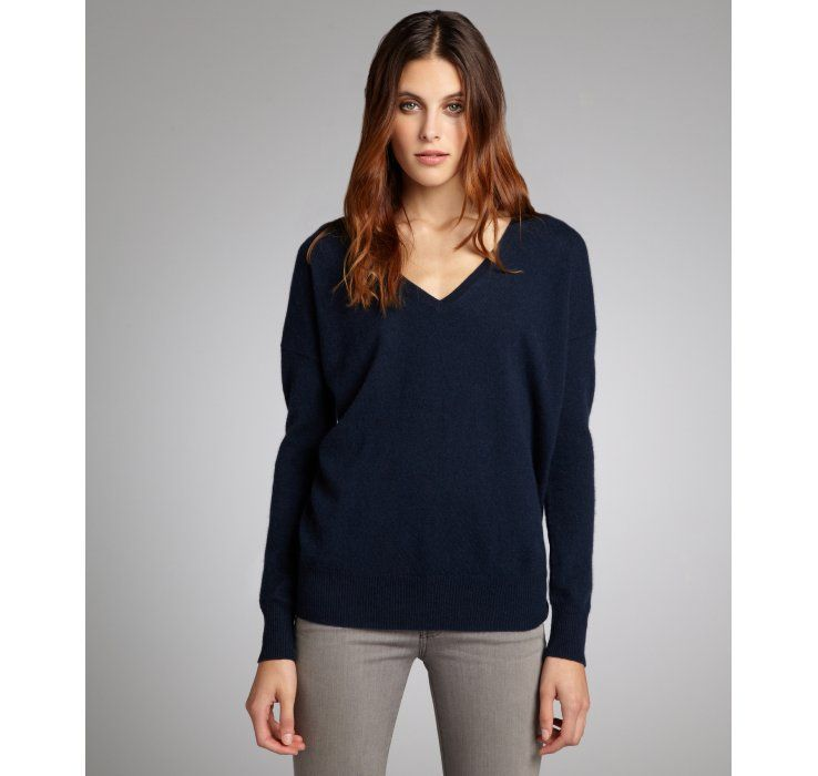 Autumn Cashmere navy cashmere v-neck boyfriend sweater $169, down ...
