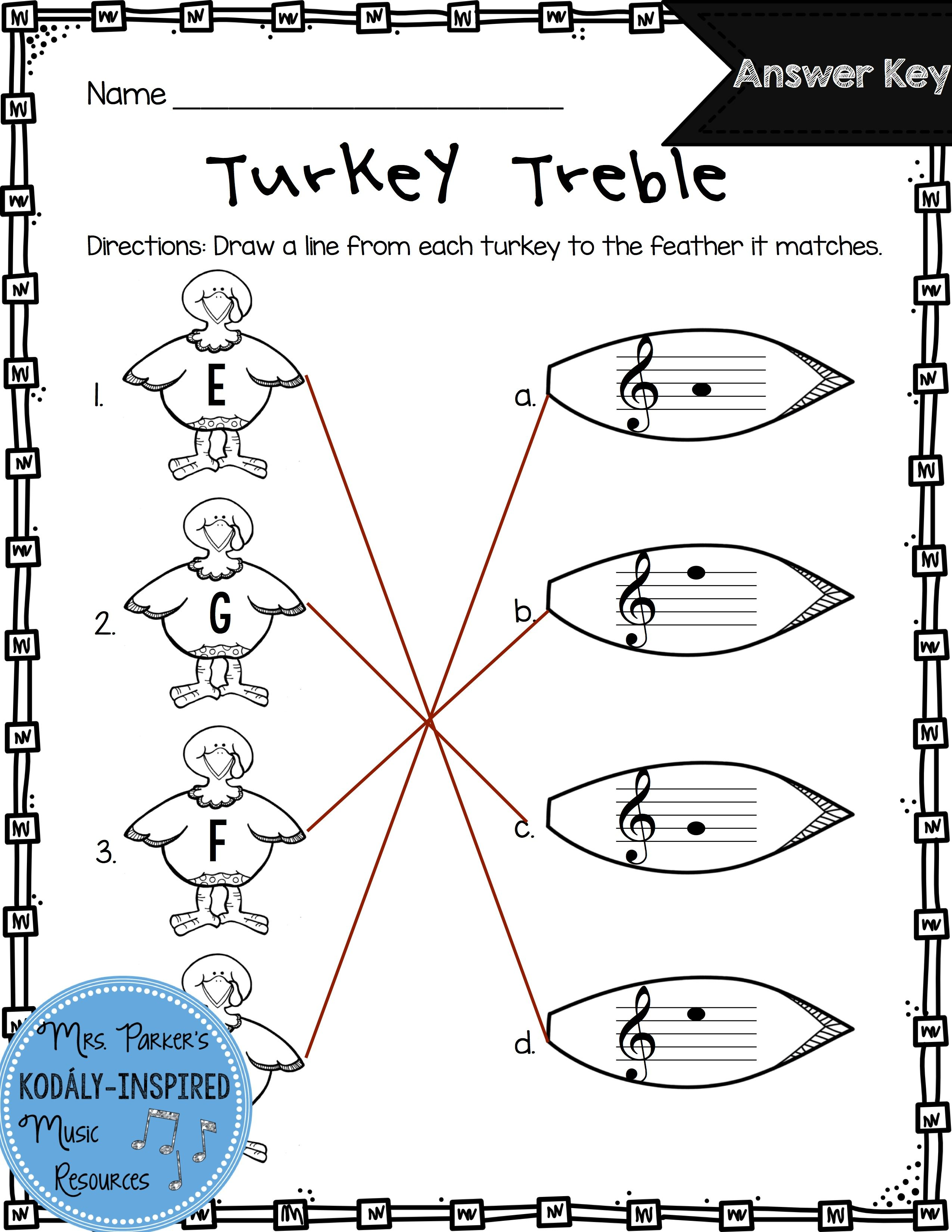 Treble Clef Match Up Worksheet From Turkey Treble Perfect For Fun And Assessment Violin Lessons Learn Violin Music Worksheets
