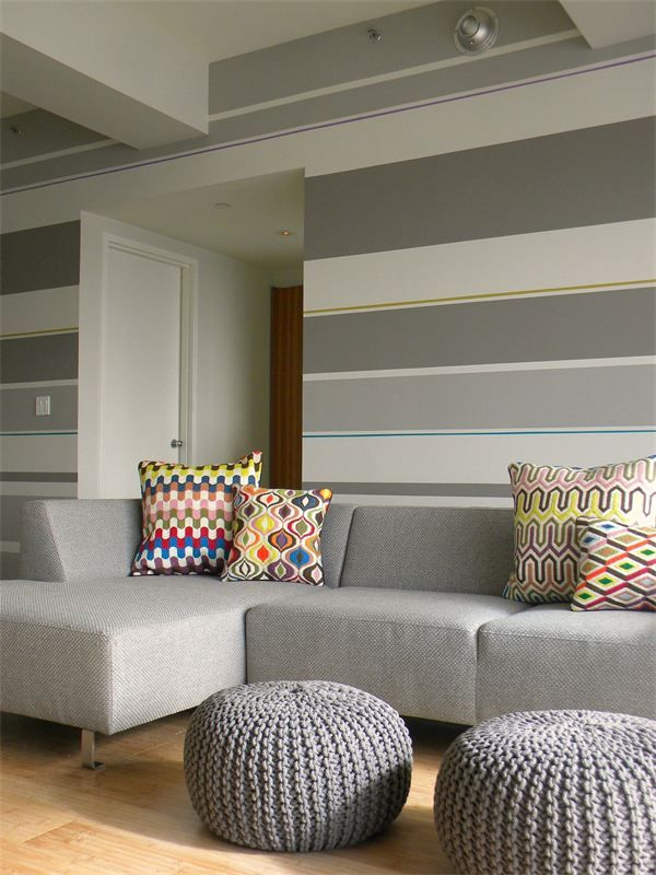 Diy Striped Wall In A Living Room Via Colortheory P O R T F O L I O Striped Walls Living Room Living Room Paint Striped Walls