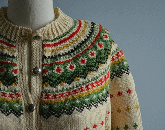 Vintage Nordic Wool Cardigan / 50s Hand Knit Fair Isle Sweater Cream …