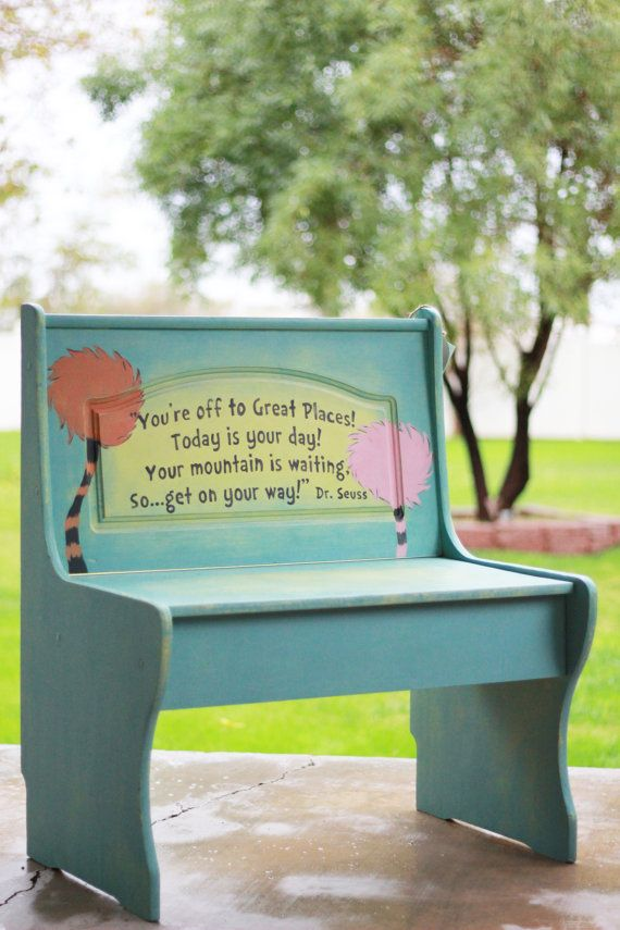 Pin By Victoria Saley Obseussed On Dr Seuss Style And Decor Childrens Benches Painted Benches Dr Seuss Nursery