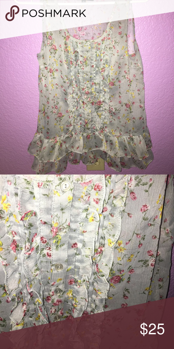 Frilly floral tank! 🌸 Floral tank with ruffles on front and bottom. Kind of see through. Size S but fits more like a tight medium. Only worn once or twice! Tilly's Tops Tank Tops