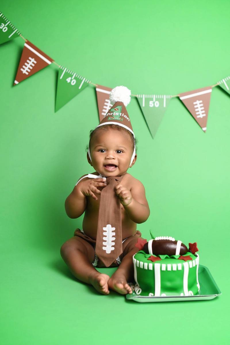Awe Inspiring Football Themed Cake Smash Session Football Cake First Birthday Birthday Cards Printable Inklcafe Filternl