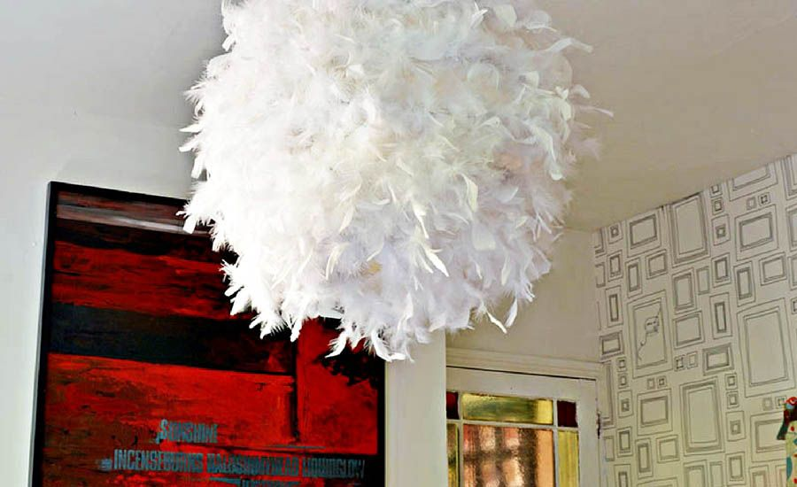 A simple affordable and beautiful diy feather lampshade pillar a simple affordable and beautiful diy feather lampshade pillar box blue aloadofball Choice Image