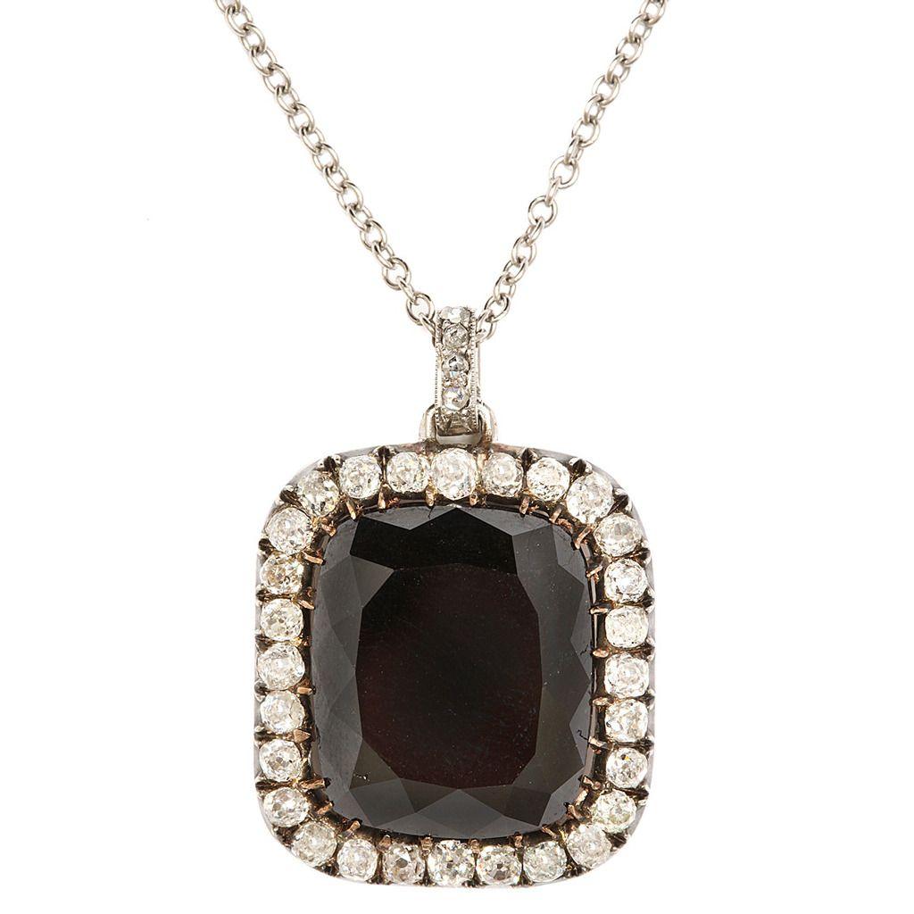 Victorian black diamond gold platinum pendant stdibs