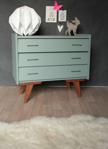 commode vintage ann es 50 60 bleue tiroirs biais home decor pinterest moderne milieu de. Black Bedroom Furniture Sets. Home Design Ideas
