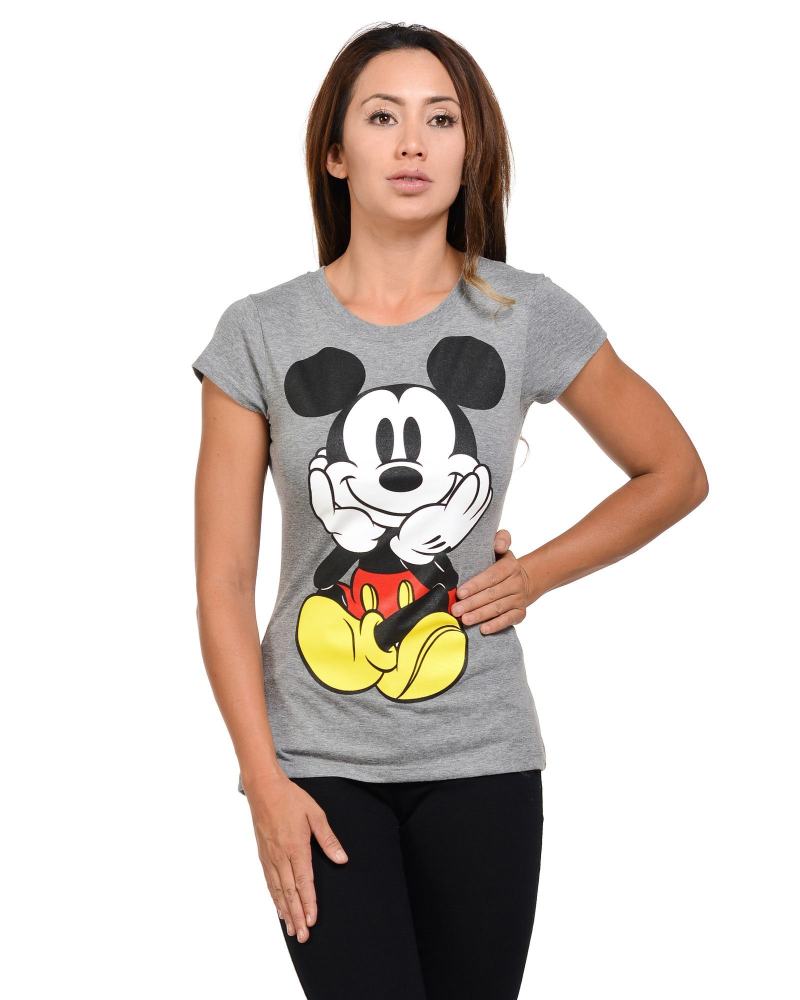 Women's Front And Back Mickey Sitting T-Shirts