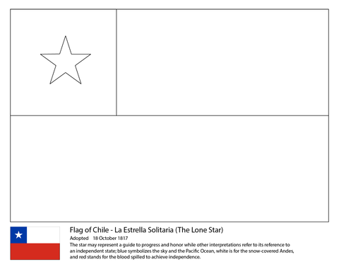 Chile Flag Coloring Page Chile Flag Flag Coloring Pages Flag
