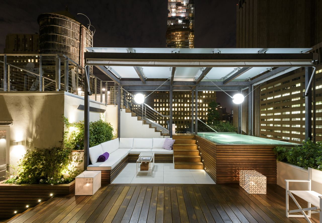 Rooftop Terrace At Night Rooftop Terrace Design Terrace Design Rooftop Design