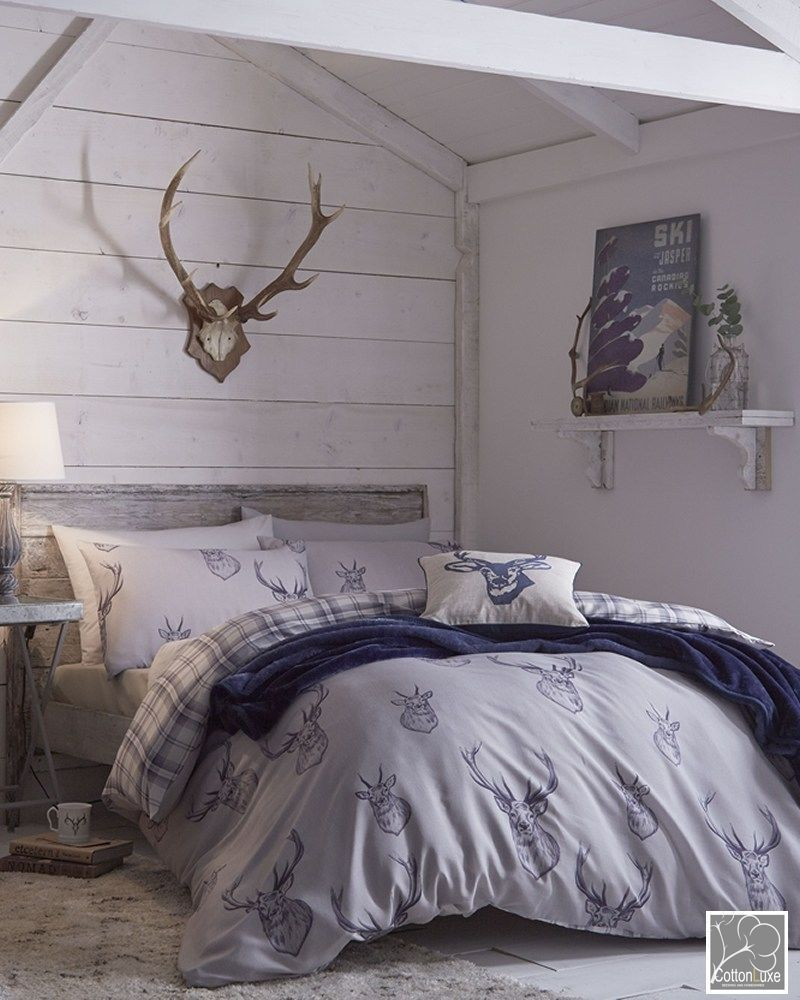 Catherine Lansfield Stag Deer Blue Reversible Duvet Quilt Cover