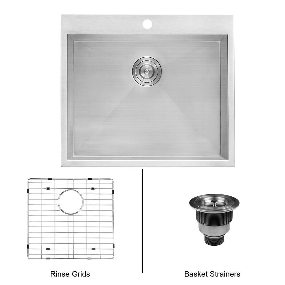 Ruvati 25 In X 22 In X 12 In Deep Drop In Top Mount Single Bowl 16 Gauge Stainless Steel Laundry Utility Sink Rvu6010 The Home Depot Utility Sink Stainless Steel Utility Sink Sink