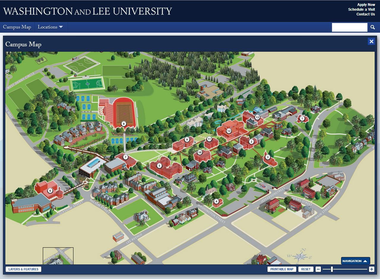 Washington And Lee Campus Map With Walking Tour Washington And Lee