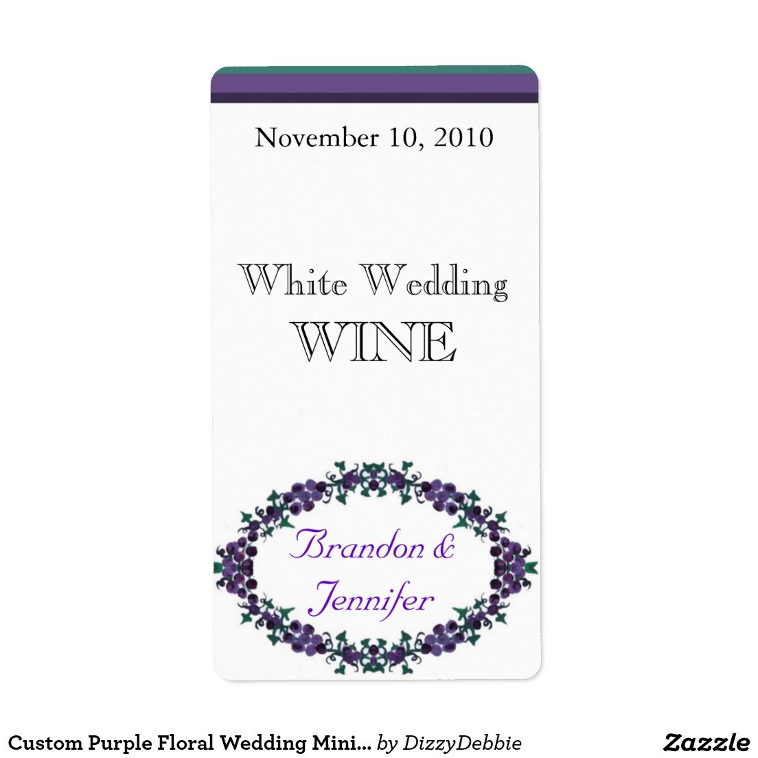 Custom Purple Floral Wedding Mini Wine Labels   Wine / Champagne ...