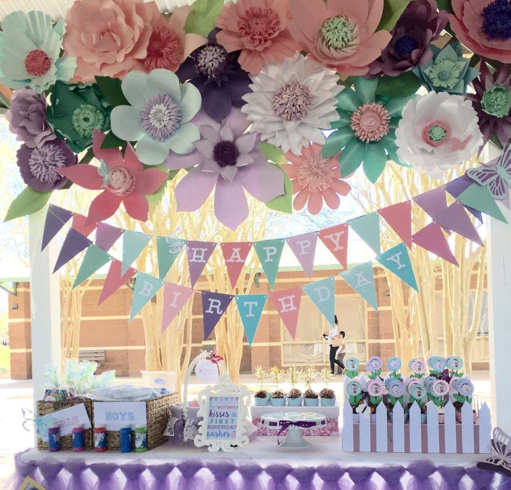 Butterflies And Flowers Birthday Party Ideas Photo 1 Of 16 Flower Birthday Party Butterfly Birthday Party Butterfly Garden Party