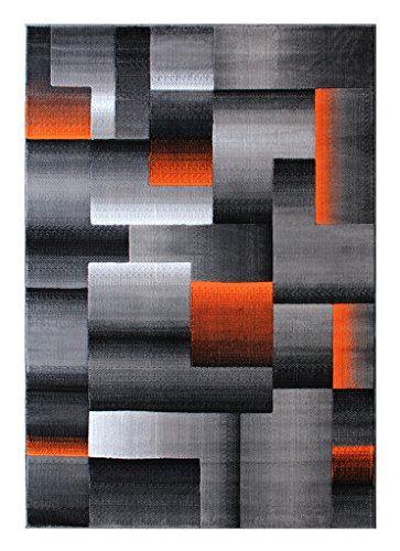 Home Decorators Collection Masada Rugs Modern Contemporary Area Rug Orange Grey Black 8 Feet X 10 Feet Contemporary Area Rugs Area Rugs Quality Area Rugs