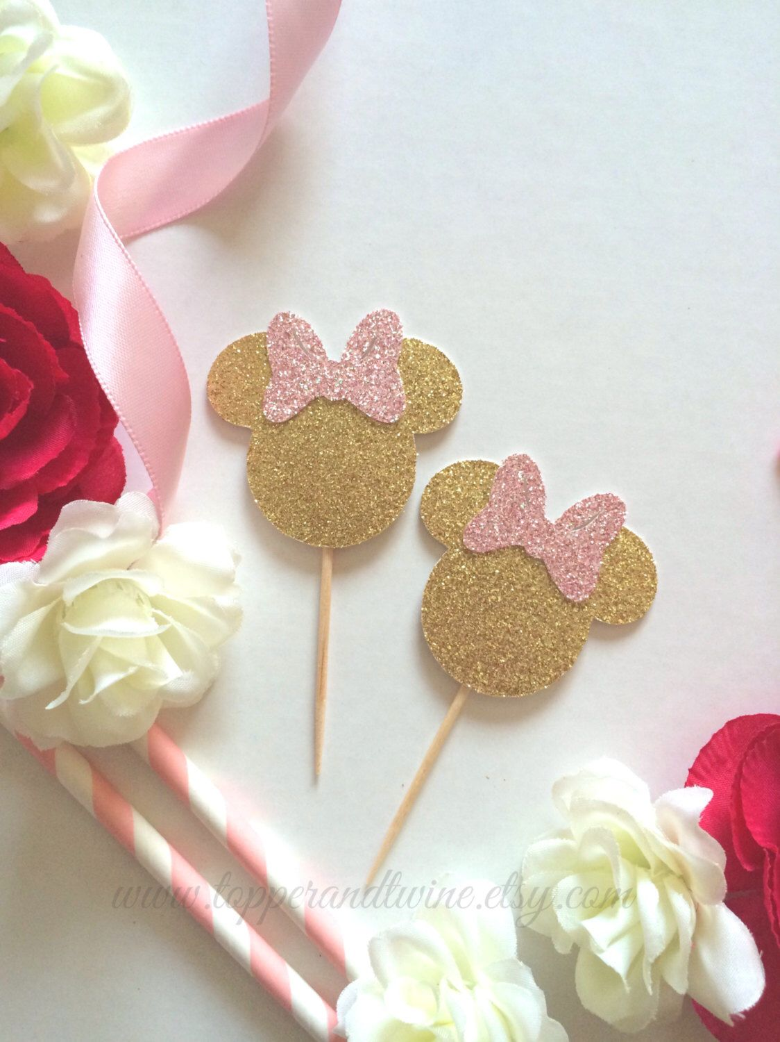 Minnie Mouse Cupcake Toppers - Pink and Gold - Set of 12 (Disney ...