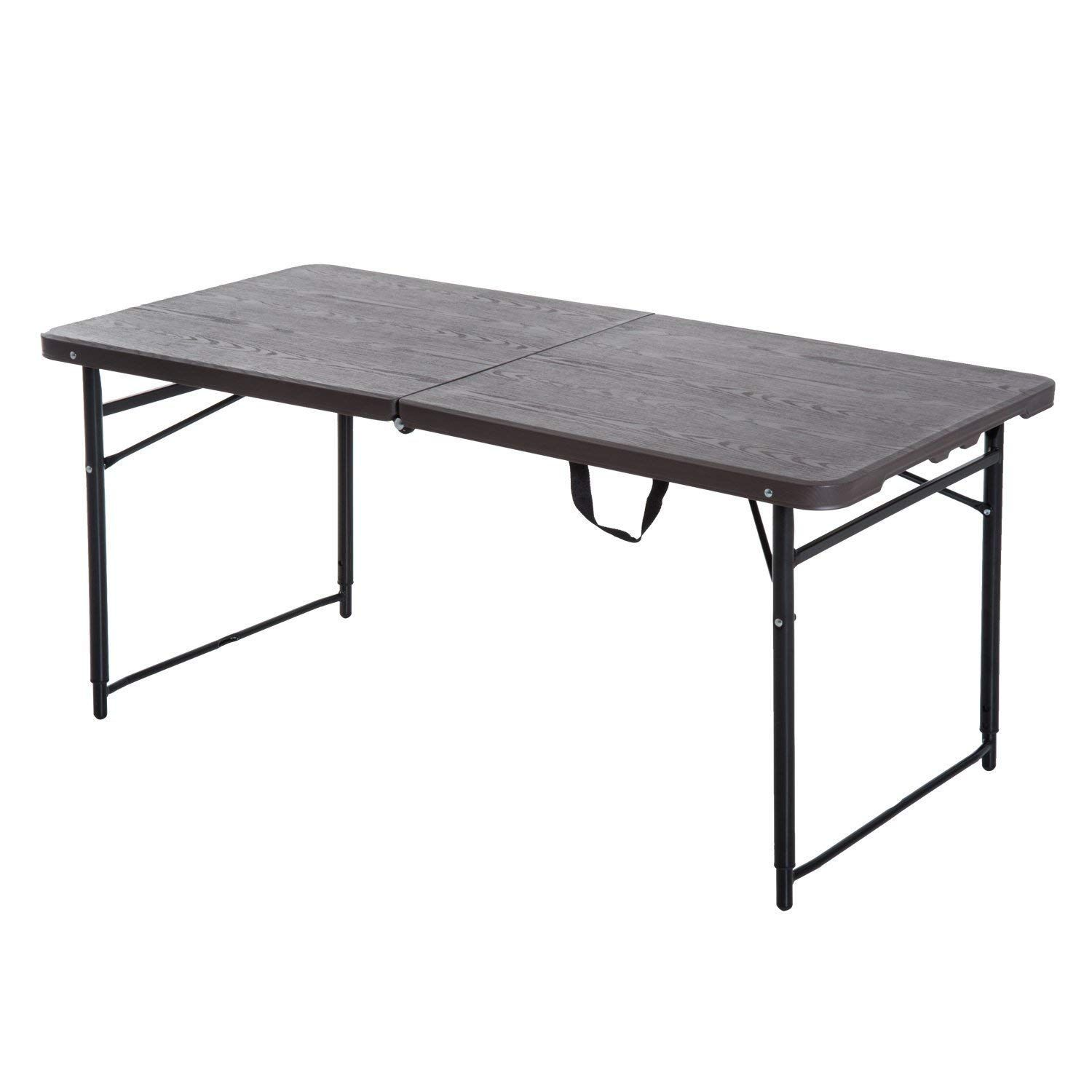 Outsunny 1 2 M Exterieur Table De Camping Pliante A Hauteur Reglable De Jardin Jardin Bbq Party Tab Table De Camping Pliante Table De Pique Nique Table Camping