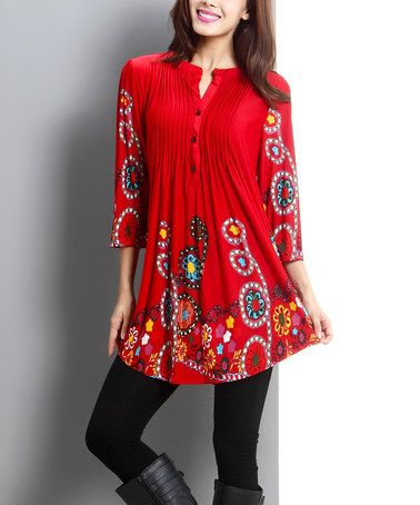 20c81c4ec84 Another great find on #zulily! Red Garden Notch Neck Tunic - Women ...