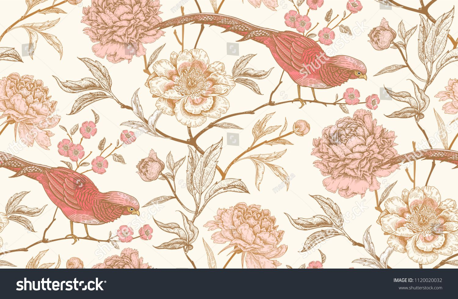 Peonies And Pheasants Floral Vintage Seamless Pattern With